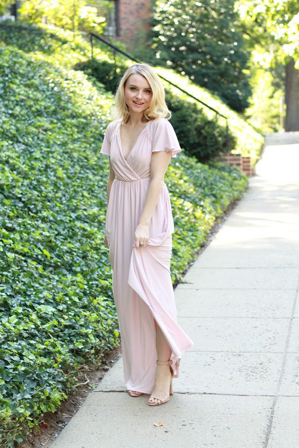 Poor Little It Asos Blush Maxi Dress And Sweet Spark Gold Earrings