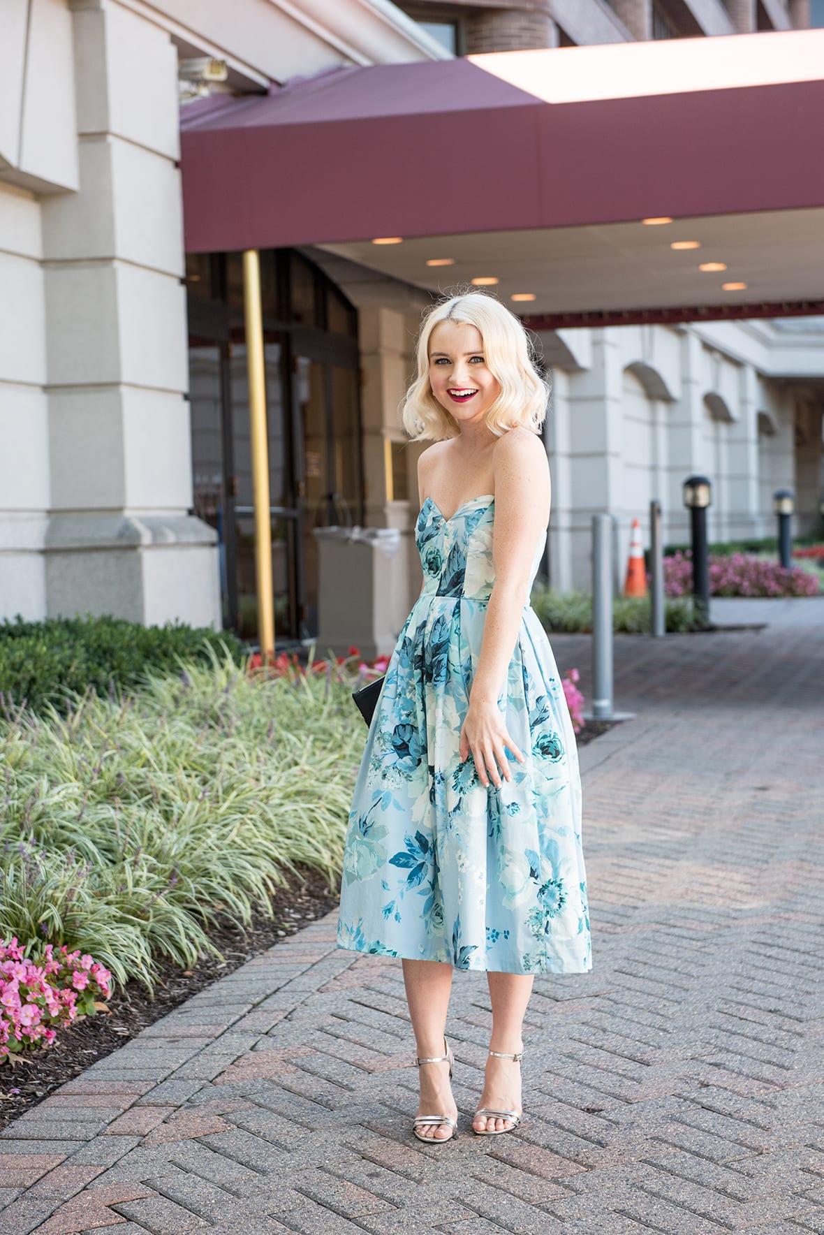 Poor Little It Girl - Blue Floral Party Dress
