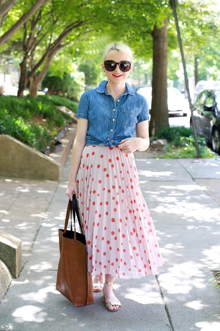 polka dot midi skirt for summer