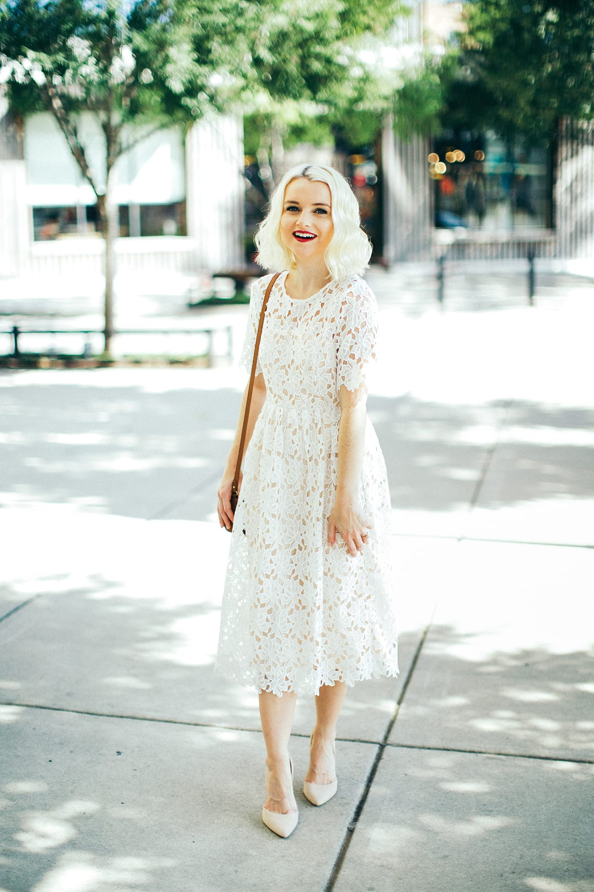 8406a1f0f9d2 Lace Midi Dress In White With Short Sleeves - Poor Little It Girl