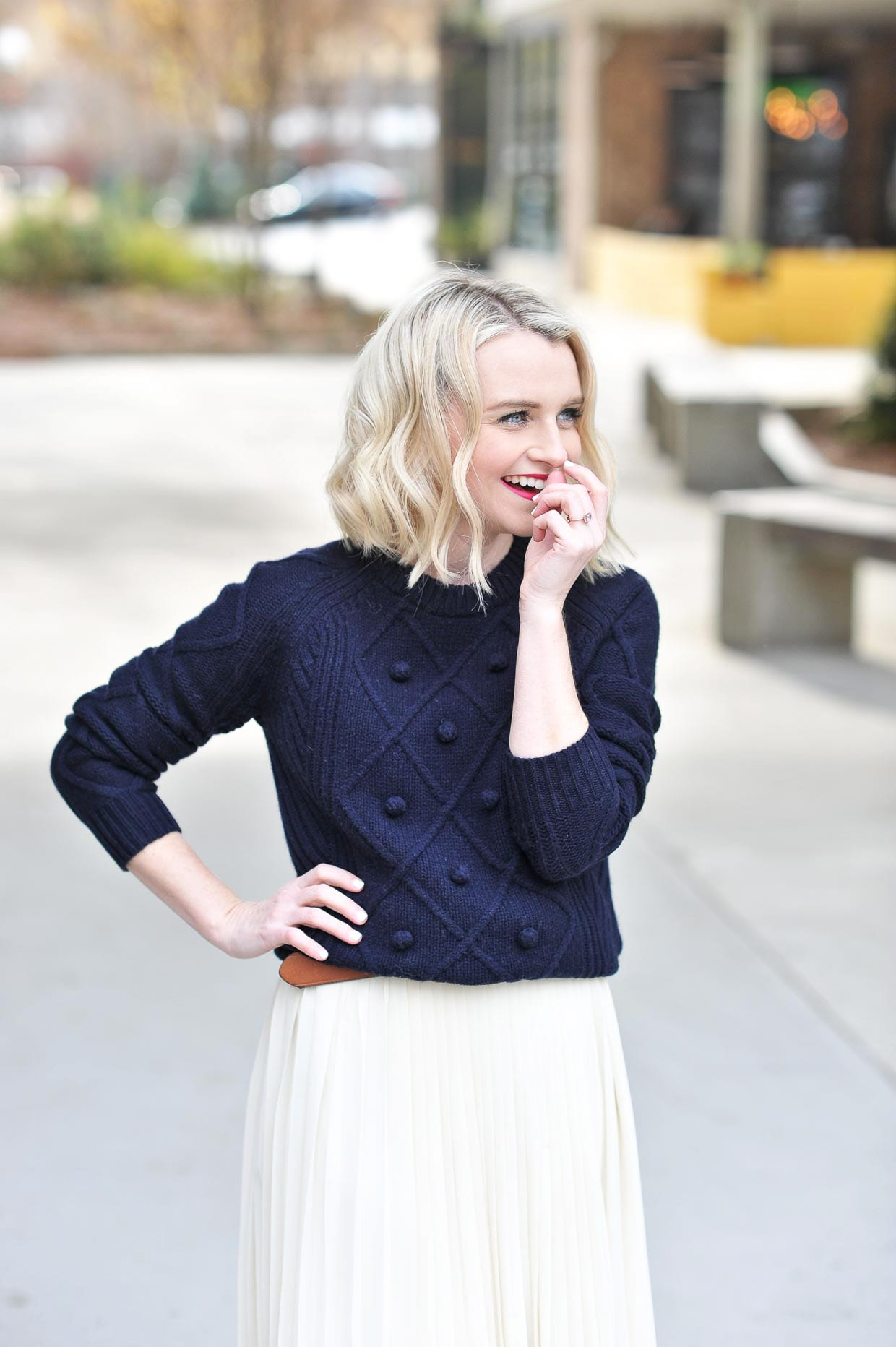 c21b6ba2002 How To Style A Navy Sweater Over A Dress - Poor Little It Girl