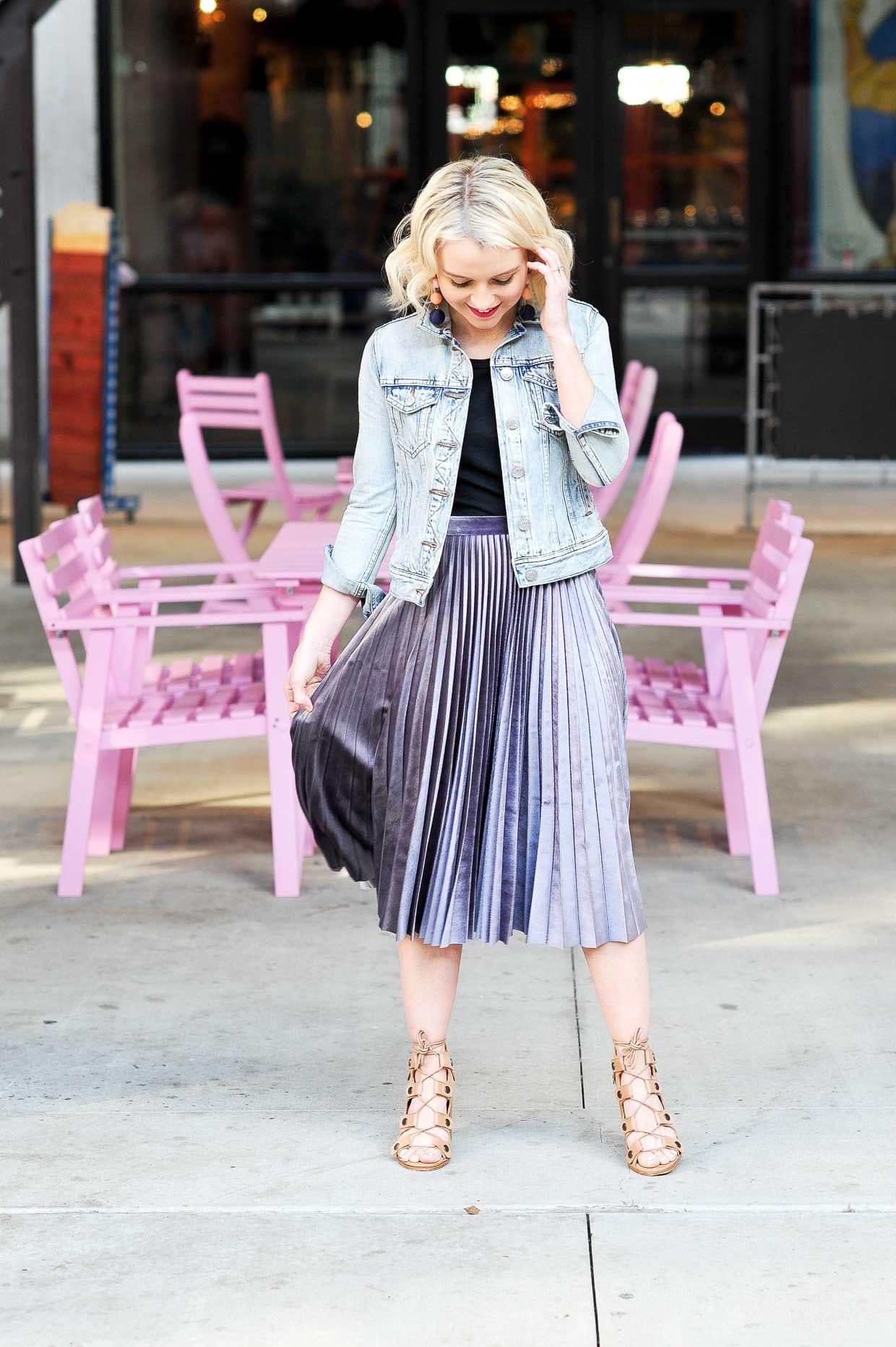 6dc3922f6 Topshop Metallic Pleated Velvet Midi Skirt - Poor Little It Girl