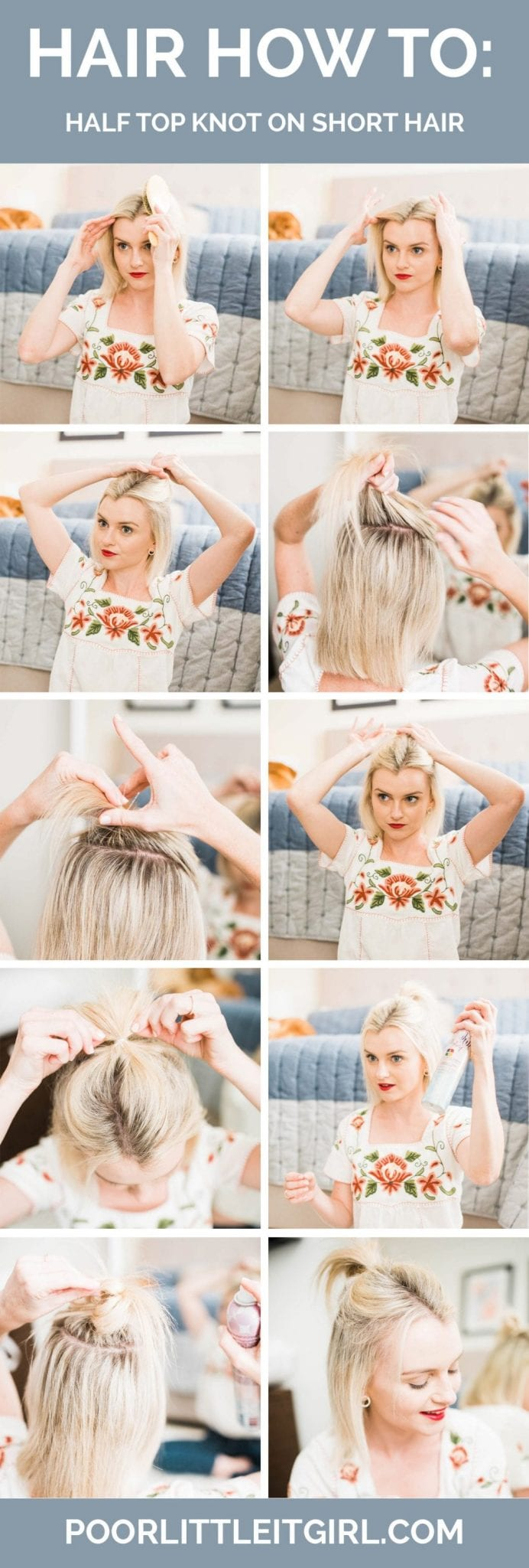 How To Do A Half Top Knot On Short Hair Poor Little It Girl