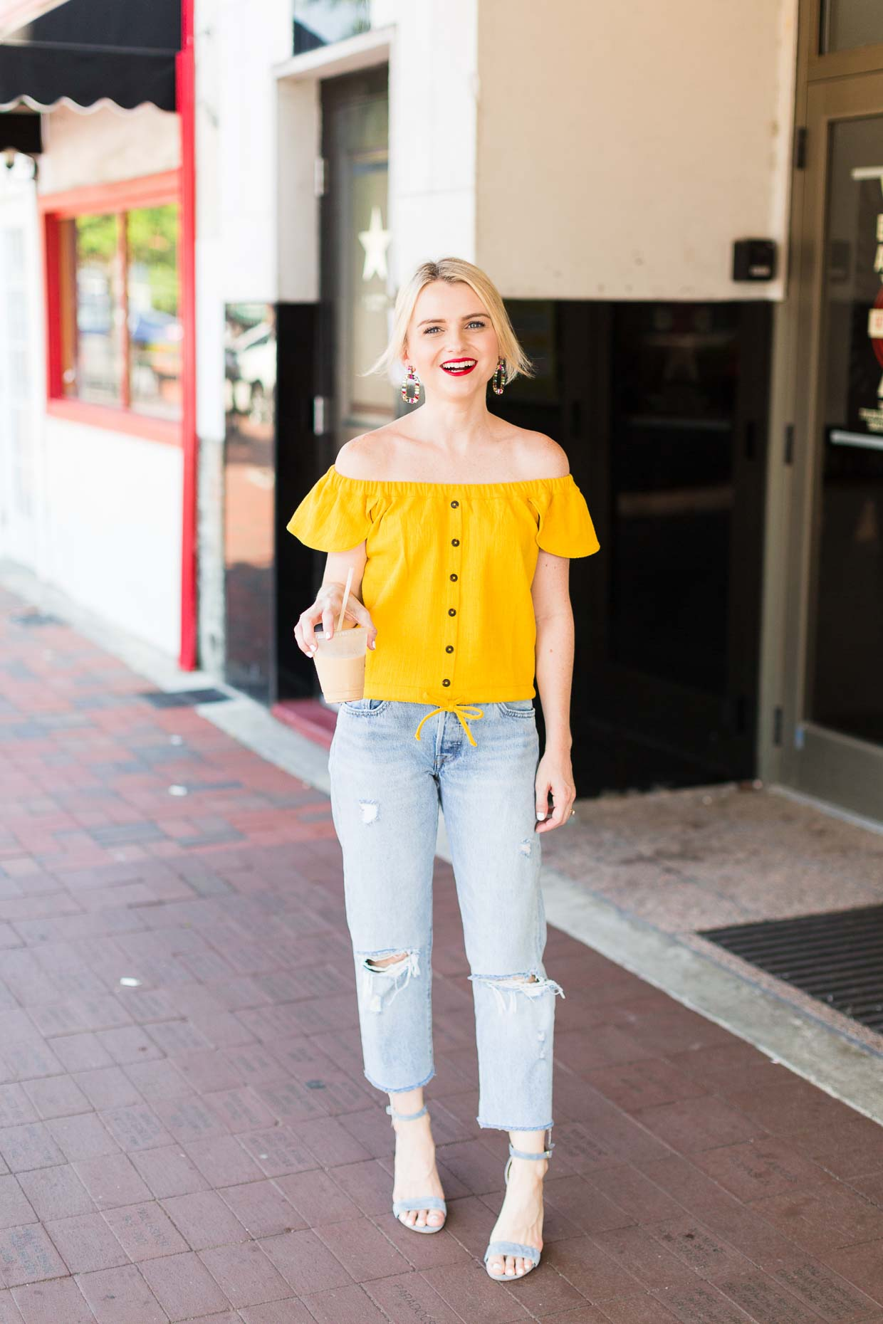 8a1cbf6c7d58e How To Style A Yellow Off The Shoulder Top For Summer And Fall - Poor Little