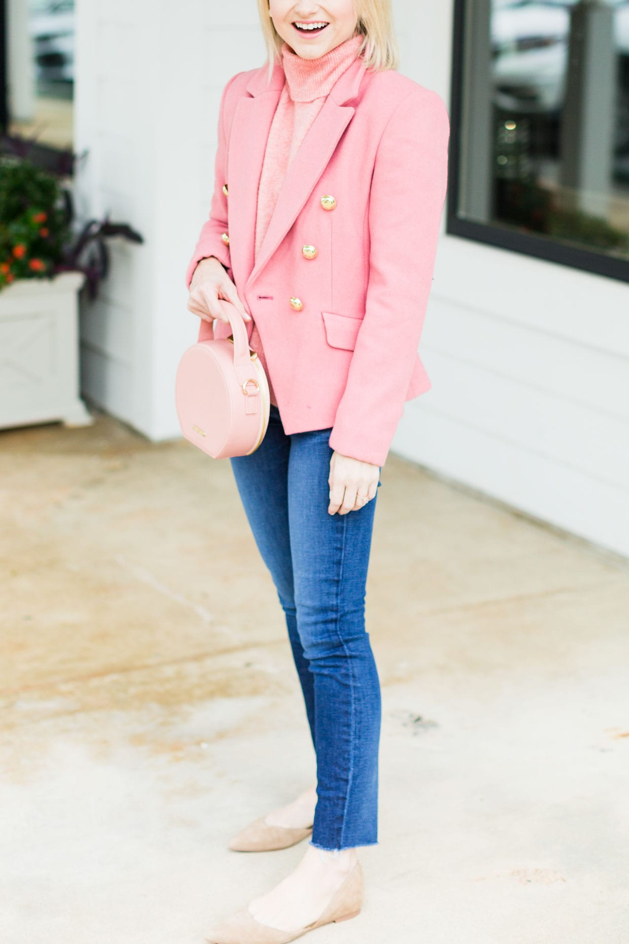pink blazer outfit  how to style a pink blazer  poor