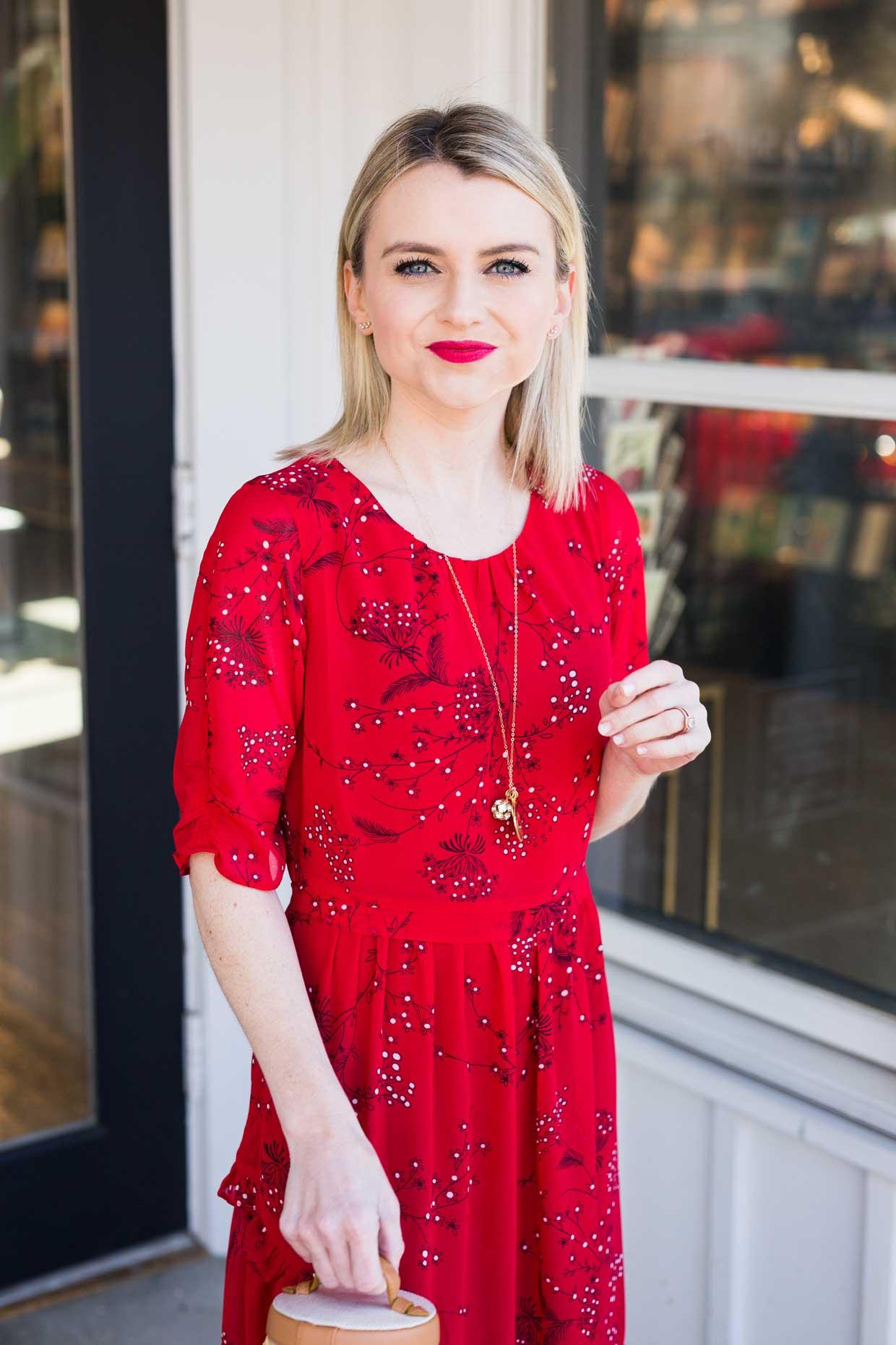 red dress booties